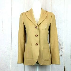 Stanley Blacker Wool Tan Riding Jacket Wood Button